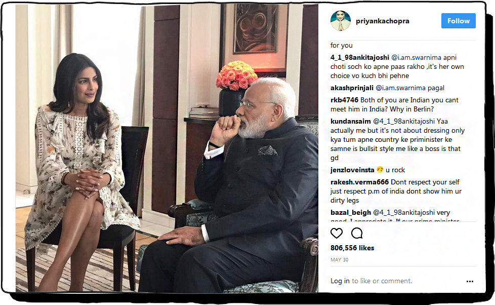 Priyanka showing her legs during her meeting with PM Narendra Modi in Berlin