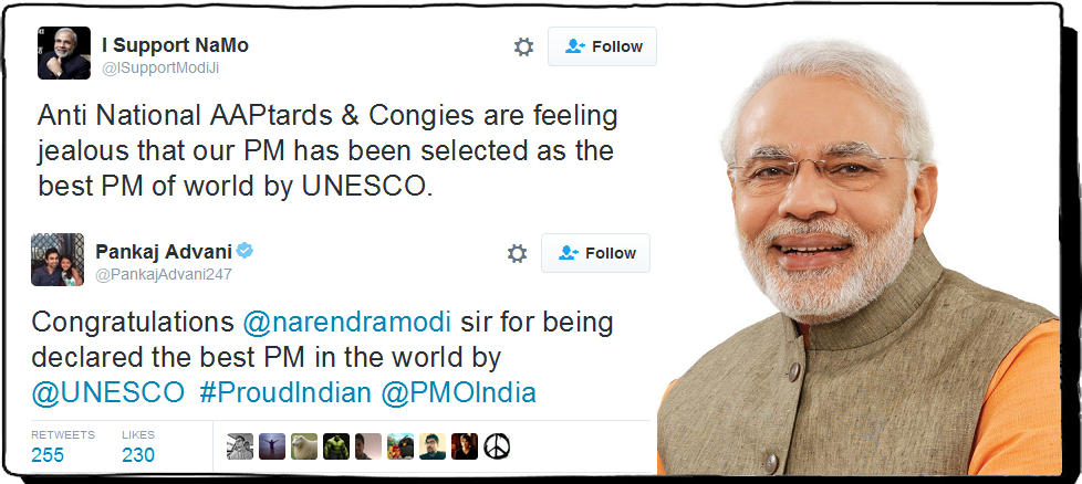 Modi declared as best PM by UNESCO