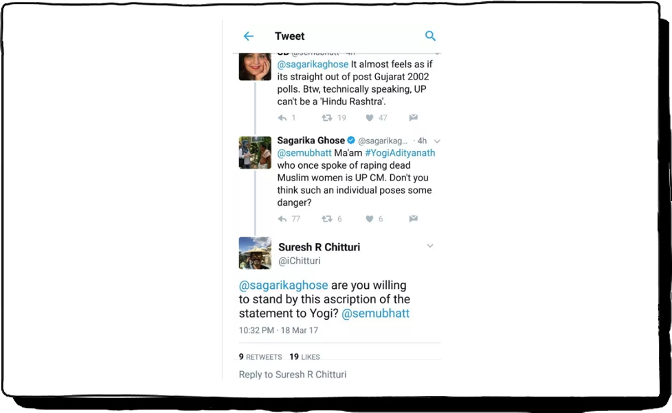 Fake tweet by Sagarika Ghosh on Yogi Adityanath